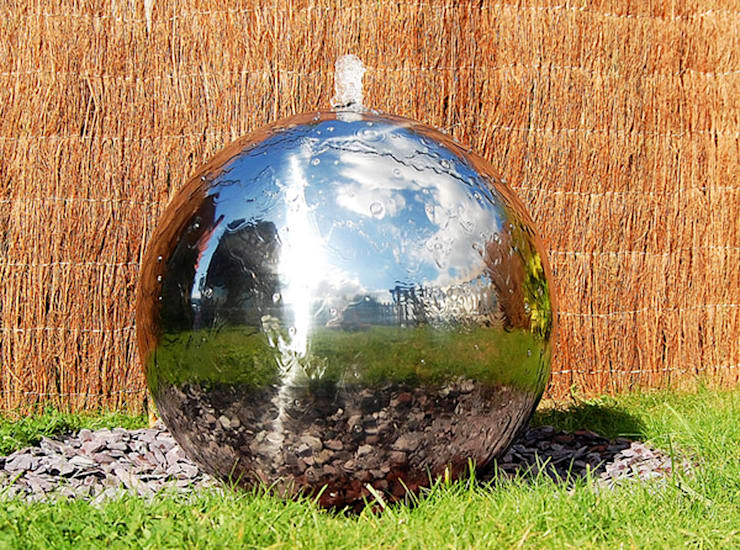 Polished 28cm Stainless Steel Sphere Water Feature:  Garden  by Primrose