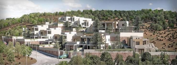 10 viviendas El Pinar: Palacios de congresos de estilo  de Muxacra Arquitectos
