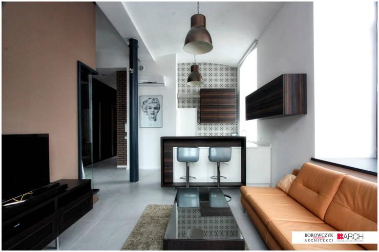 LOFT z widokiem: styl , w kategorii Salon zaprojektowany przez Borowczyk Architekci,