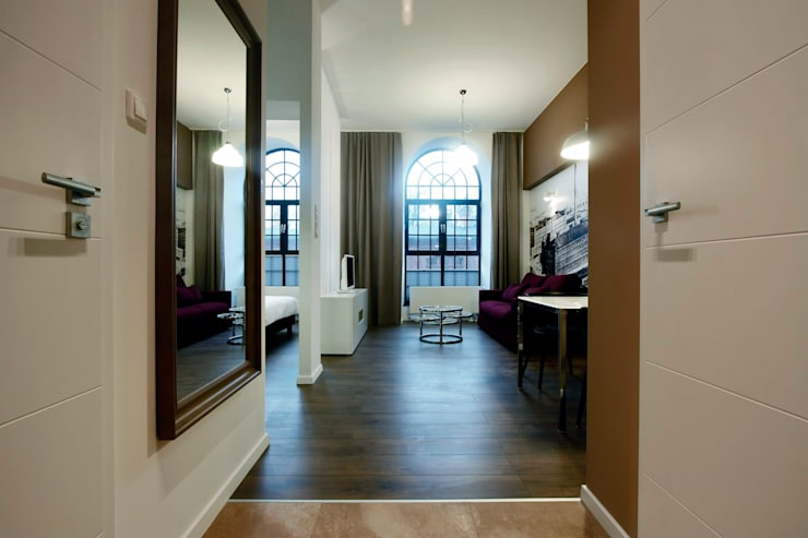 DVUPAK - loft MOODY: styl , w kategorii Korytarz, przedpokój zaprojektowany przez Borowczyk Architekci