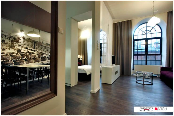 DVUPAK – loft MOODY: styl , w kategorii Korytarz, przedpokój zaprojektowany przez Borowczyk Architekci