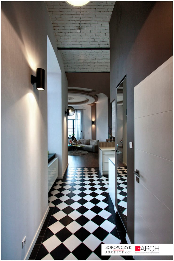LOFT z wieżą 02: styl , w kategorii Korytarz, przedpokój zaprojektowany przez Borowczyk Architekci,Industrialny