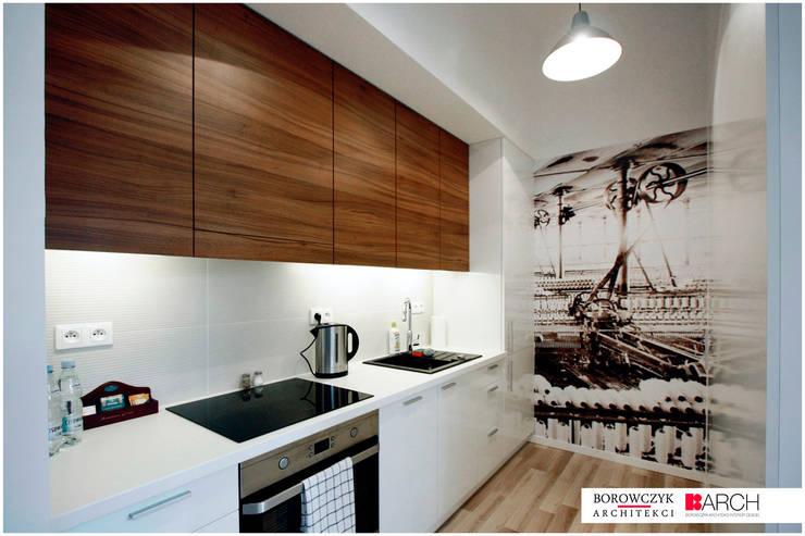 mały LOFT dla singla: styl , w kategorii Kuchnia zaprojektowany przez Borowczyk Architekci,