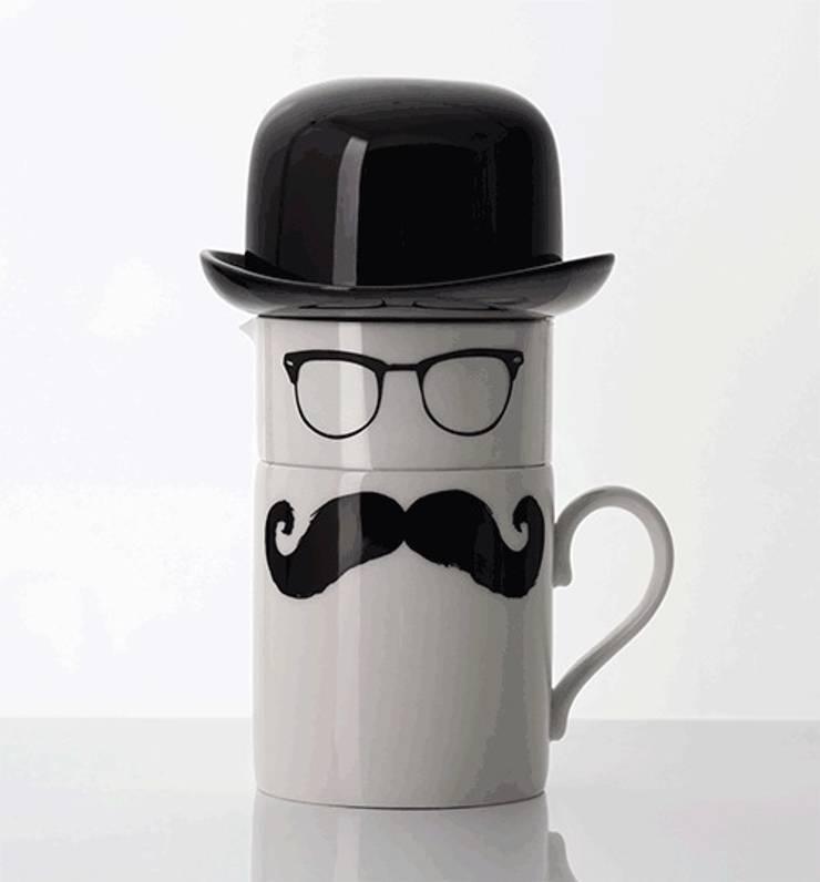 Original Moustache mug, milk jug and sugar bowl Set:  Kitchen by Peter Ibruegger Studio
