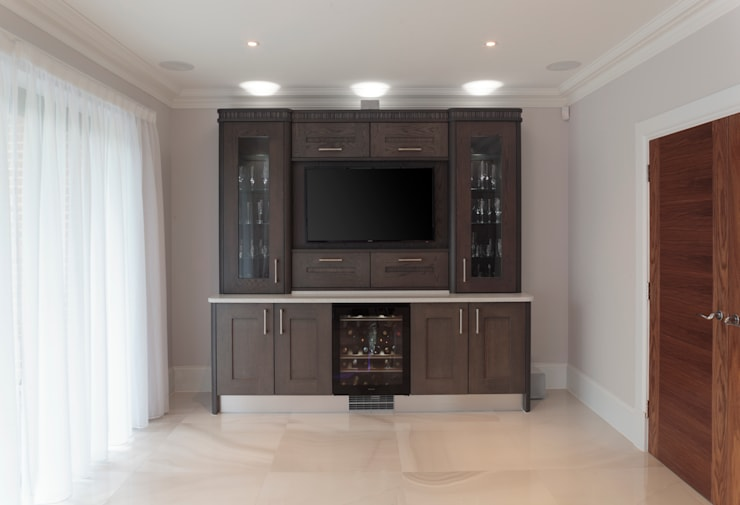 Tate Anthracite and Mussel Oak with Black & White Zebrano:  Kitchen by Stoneham Kitchens
