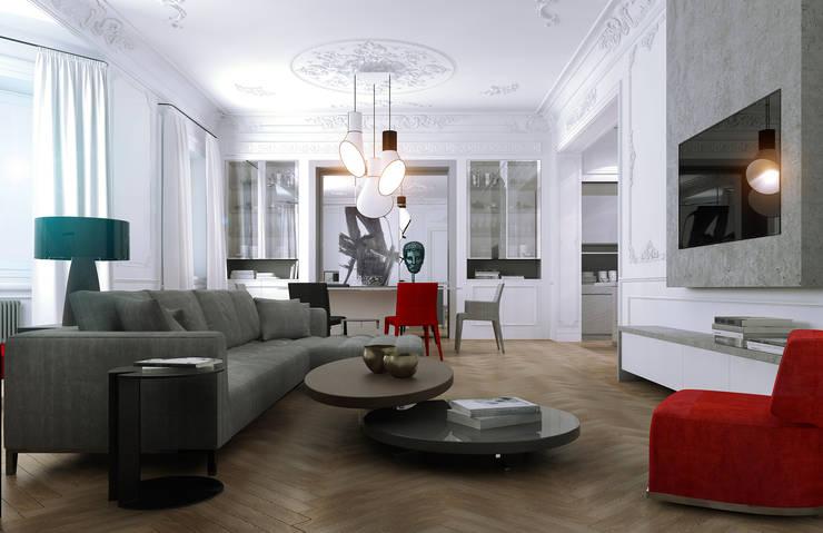Дизайн-проект квартира Остоженка: Гостиная в . Автор – Projecto2