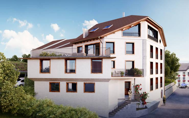 Süd-West Fassade: rustikale Häuser von von Mann Architektur GmbH