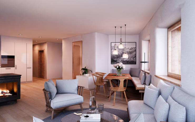 Wohnen-Essen-Küche / Wohnung Erdgeschoss: rustikale Esszimmer von von Mann Architektur GmbH