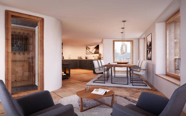 Wohnen - Essen - Küche / Wohnung 1.OG: rustikale Esszimmer von von Mann Architektur GmbH