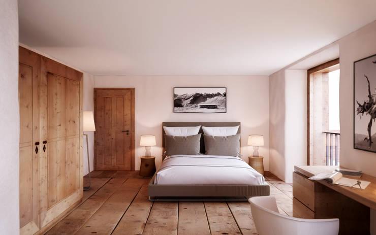 Schlafen / Wohnung 1.OG: rustikale Schlafzimmer von von Mann Architektur GmbH