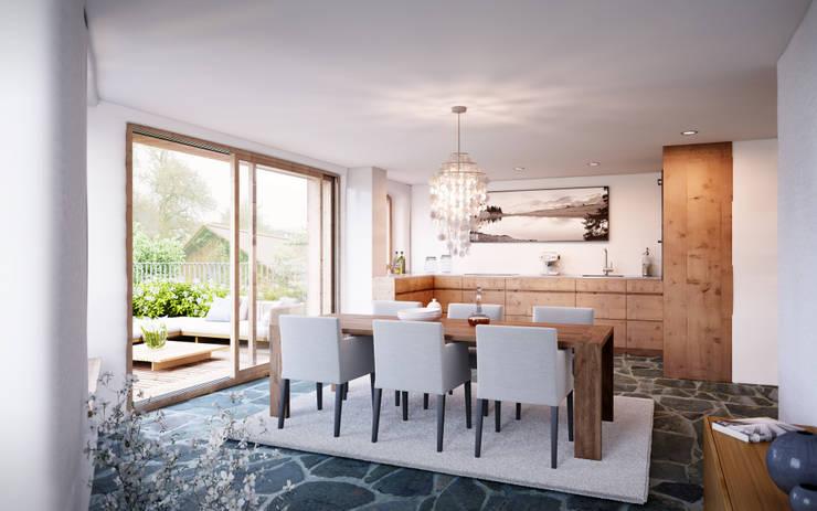 Essen - Küche im 2. Obergeschoss: rustikale Esszimmer von von Mann Architektur GmbH