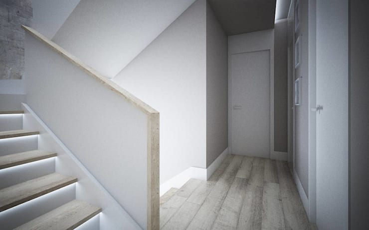 SUROWY BETON I ELEGANCKIE DODATKI W DOMU W STARYCH BABICACH: styl , w kategorii Korytarz, przedpokój zaprojektowany przez TISSU Architecture