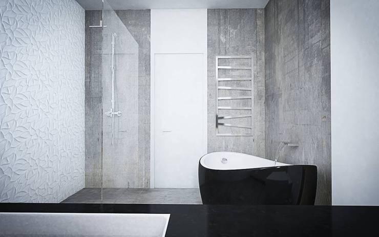 SUROWY BETON I ELEGANCKIE DODATKI W DOMU W STARYCH BABICACH: styl , w kategorii Łazienka zaprojektowany przez TISSU Architecture