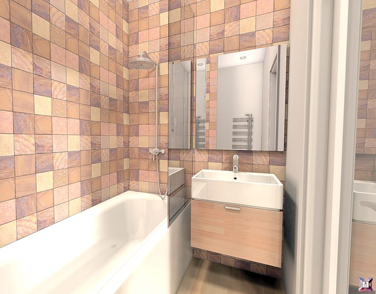 Квартира в Южном городе: Ванные комнаты в . Автор – A.workshop,