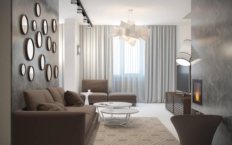 Дизайн квартиры в ЖК Суханово парк: Гостиная в . Автор – White & Black Design Studio, Модерн