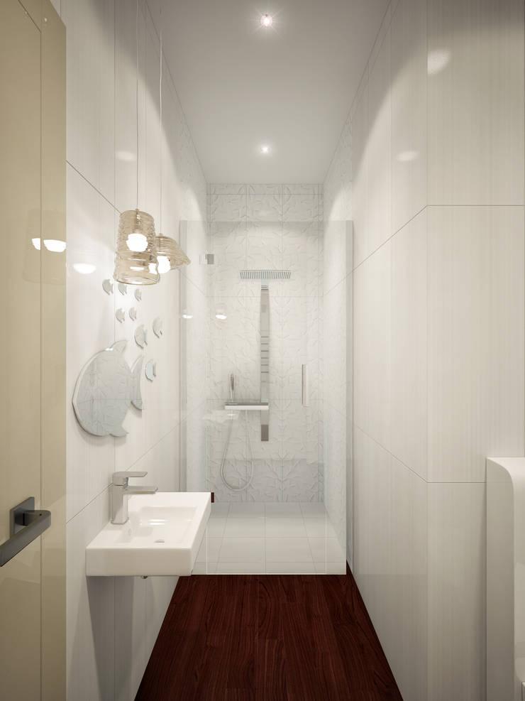 Дизайн квартиры в ЖК Суханово парк: Ванные комнаты в . Автор – White & Black Design Studio, Модерн