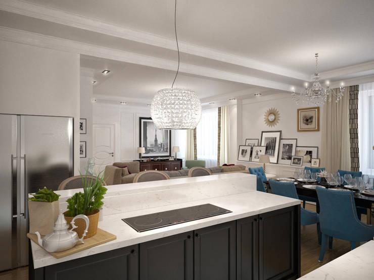 Дизайн квартиры в неоклассическом стиле : Гостиная в . Автор – White & Black Design Studio