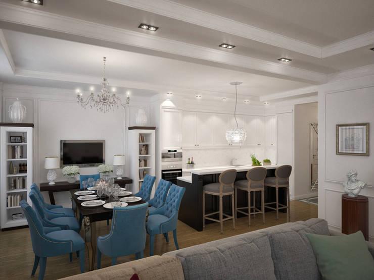 Дизайн квартиры в неоклассическом стиле : Кухни в . Автор – White & Black Design Studio,