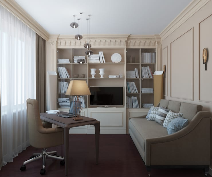 Дизайн квартиры в неоклассическом стиле : Рабочие кабинеты в . Автор – White & Black Design Studio,