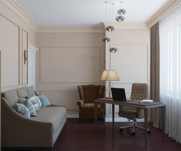 Дизайн квартиры в неоклассическом стиле : Рабочие кабинеты в . Автор – White & Black Design Studio