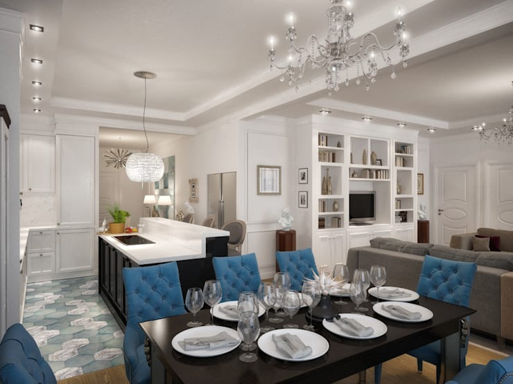 Дизайн квартиры в неоклассическом стиле : Столовые комнаты в . Автор – White & Black Design Studio,