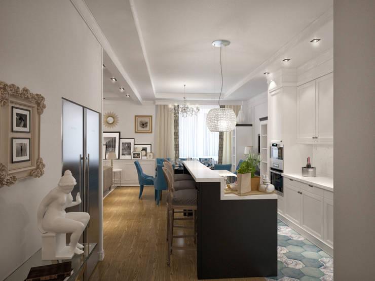 Дизайн квартиры в неоклассическом стиле : Кухни в . Автор – White & Black Design Studio