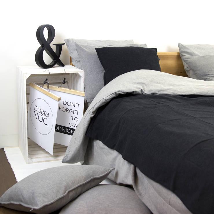 Pościel dzianinowa szara,: styl , w kategorii Sypialnia zaprojektowany przez Nocne Dobra