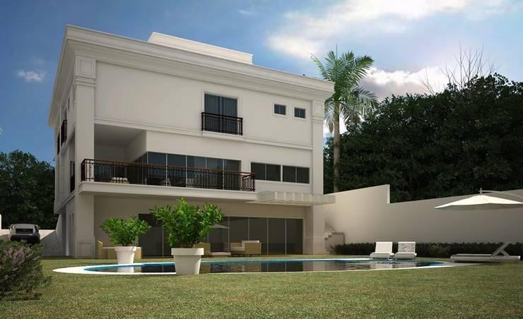 CASA NEOCLASSICA MODERNA: Casas  por TRAÇO FINAL ARQUITETURA E INTERIORES,