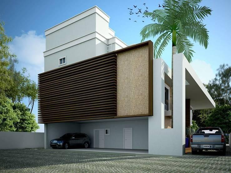 FACHADA POSTERIOR: Casas  por TRAÇO FINAL ARQUITETURA E INTERIORES