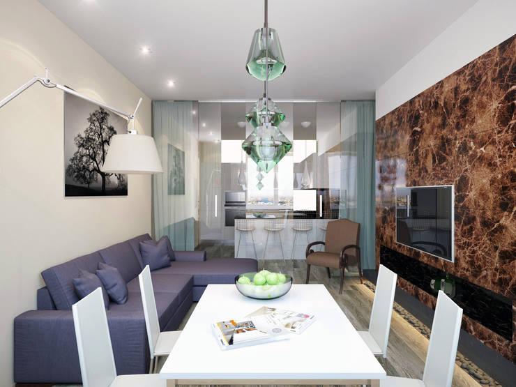 Дизайн квартиры в ярких оттенках: Гостиная в . Автор – White & Black Design Studio
