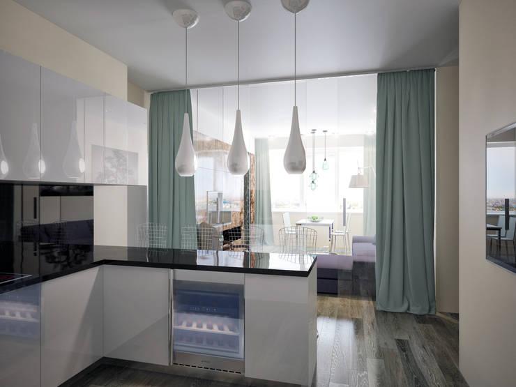 Дизайн квартиры в ярких оттенках: Кухни в . Автор – White & Black Design Studio