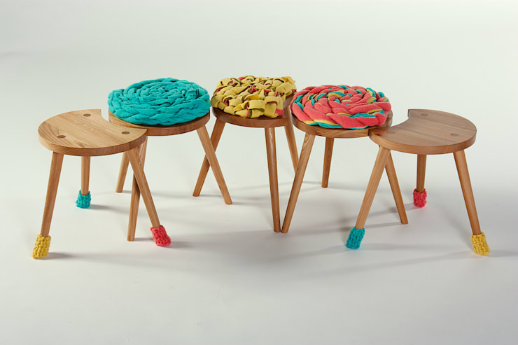 Family of Upholstered Milking Stools :  Household by Jane Crisp Bespoke Designer Maker