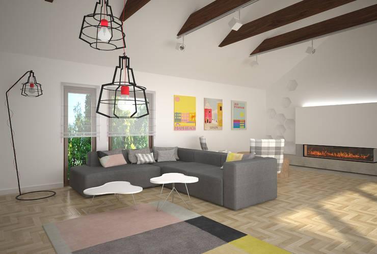 Dom w Łodzi - salon z kuchnią - nowoczesność z elementami skandynawskimi: styl , w kategorii Salon zaprojektowany przez Kameleon - Kreatywne Studio Projektowania Wnętrz