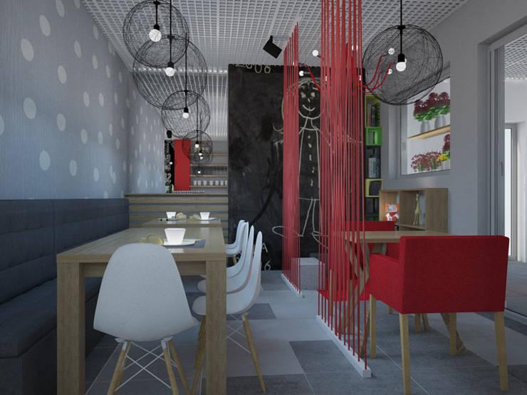 Kawiarnia-cukiernia w kontrastowej odsłonie: styl , w kategorii Gastronomia zaprojektowany przez Kameleon - Kreatywne Studio Projektowania Wnętrz