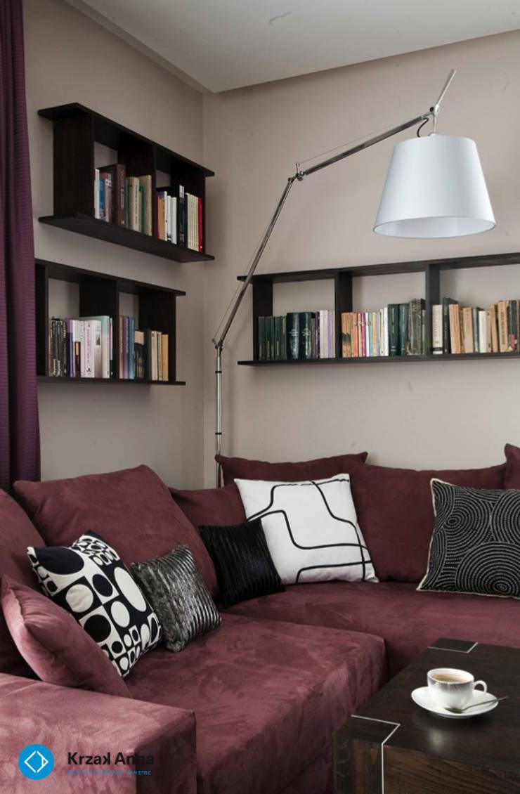 modern home: styl , w kategorii Salon zaprojektowany przez Anna Krzak architektura wnętrz