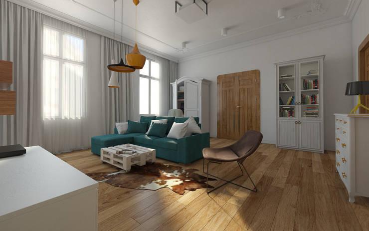 Mieszkanie w kamienicy - eklektyczny styl: styl , w kategorii Salon zaprojektowany przez Kameleon - Kreatywne Studio Projektowania Wnętrz