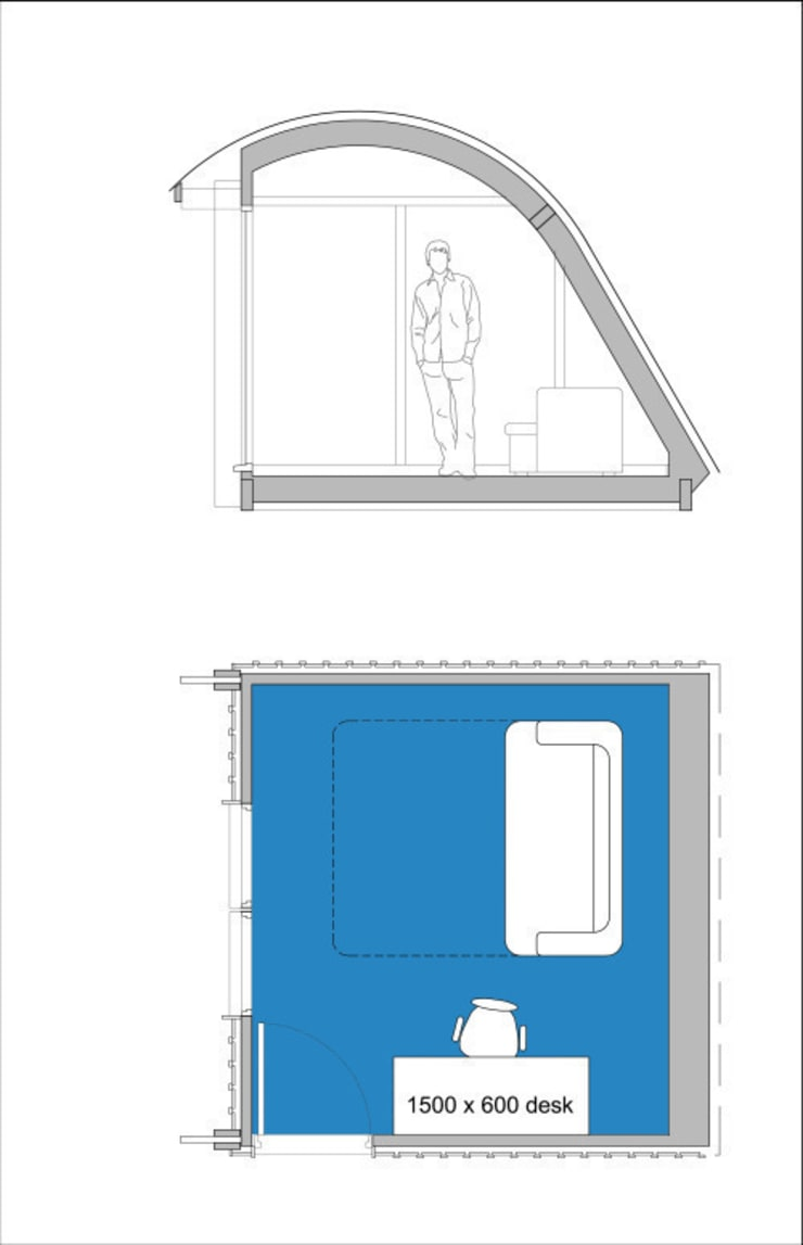 MorphPOD 3.4 as flexible work/leisure space/spare room. :  Bedroom by Morphut Ltd