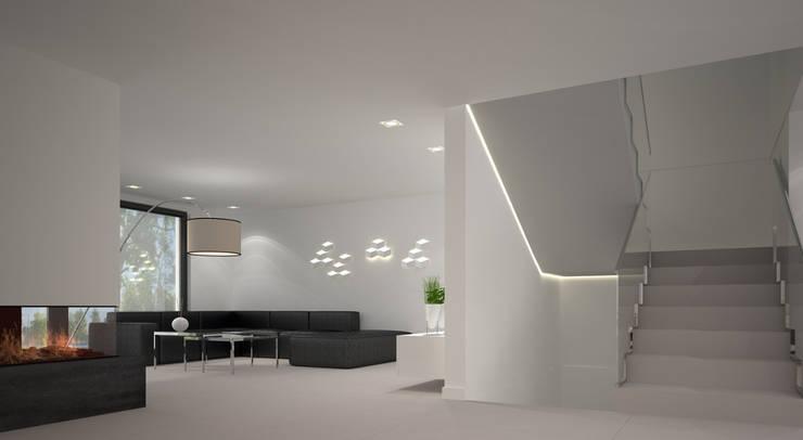 Dom w stylu bauhaus - Niemcy: styl , w kategorii Korytarz, przedpokój zaprojektowany przez Kameleon - Kreatywne Studio Projektowania Wnętrz