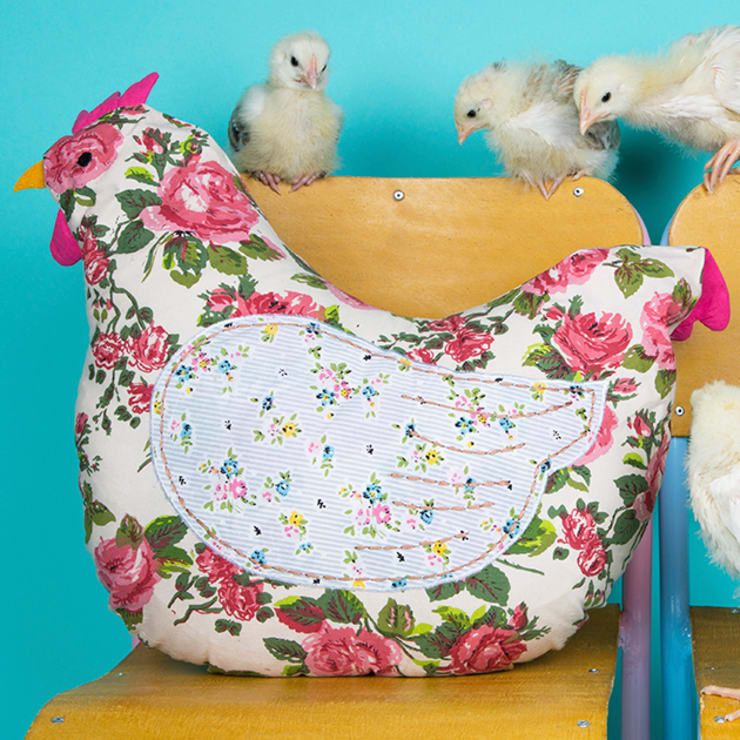 Country Chic Hen Cushion:  Living room by Sass & Belle