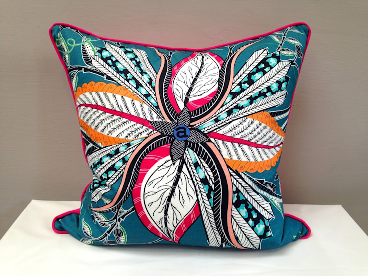 Hippo Flower Cushion in teal:  Living room by Porcupine Rocks Ltd
