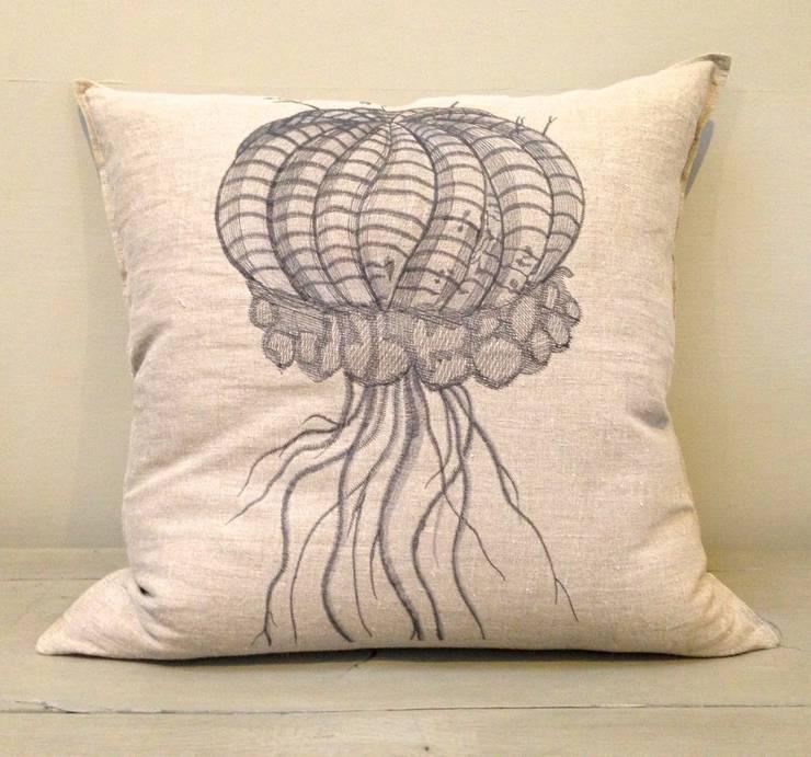 Melon Ribbed Euphorbia Cushion:  Living room by Porcupine Rocks Ltd