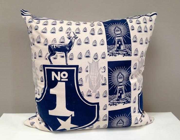 No 1 Cushion in Navy:  Nursery/kid's room by Porcupine Rocks Ltd