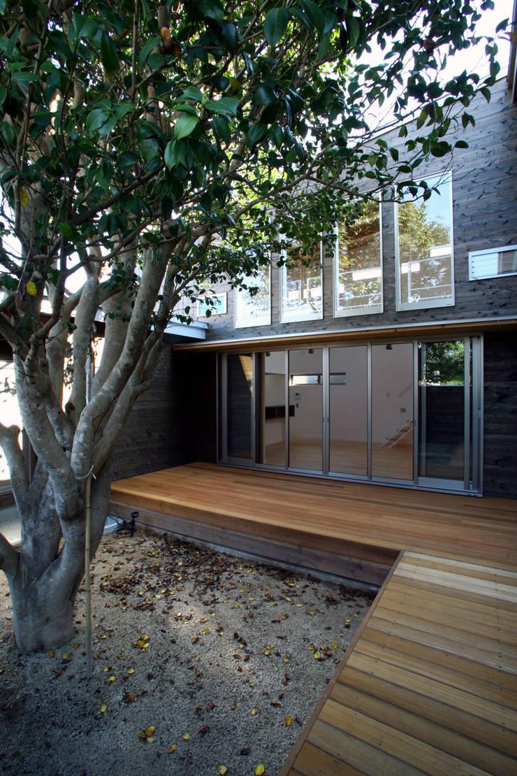 白椿をとりこんだテラス: 白根博紀建築設計事務所が手掛けたテラス・ベランダです。