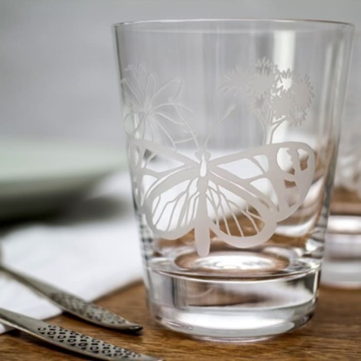 Flat Butterfly Tumblers:  Dining room by Sara Newman Design