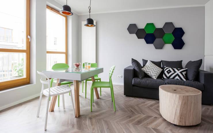 Mieszkanie ze skandynawskim zacięciem: styl , w kategorii Salon zaprojektowany przez Kameleon - Kreatywne Studio Projektowania Wnętrz