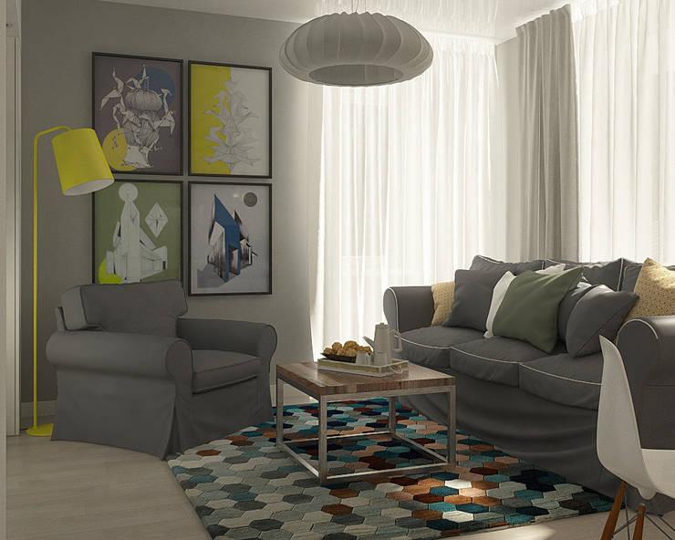 Нюансы белого: Гостиная в . Автор – CO:interior