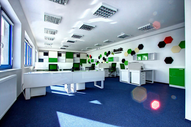 Nowoczesny biurowiec: styl , w kategorii Biurowce zaprojektowany przez Kameleon - Kreatywne Studio Projektowania Wnętrz