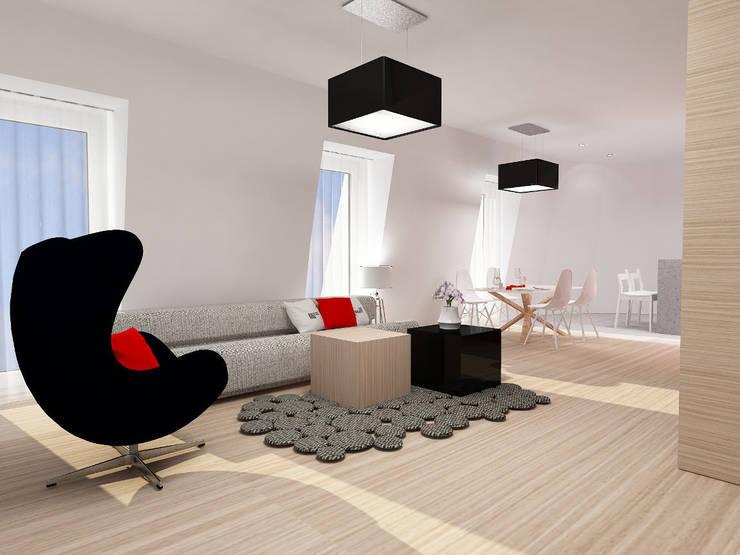 Projekt wnętrza na poddaszu - Połczyn Zdrój: styl , w kategorii Salon zaprojektowany przez Kameleon - Kreatywne Studio Projektowania Wnętrz