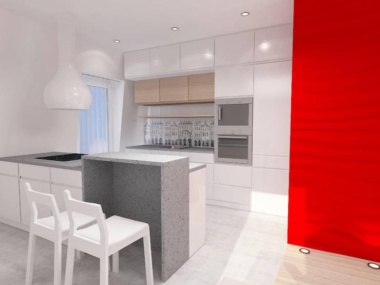 Projekt wnętrza na poddaszu - Połczyn Zdrój: styl , w kategorii Kuchnia zaprojektowany przez Kameleon - Kreatywne Studio Projektowania Wnętrz
