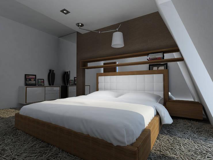 Projekt wnętrza na poddaszu - Połczyn Zdrój: styl , w kategorii Sypialnia zaprojektowany przez Kameleon - Kreatywne Studio Projektowania Wnętrz